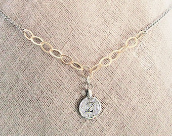 Personalized jewelry, z necklaces for women, z letter coin necklace, mixed-metal gold filled pendant necklace, unique initial choker for zoe