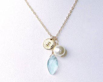 White gold initial necklace J charm with dainty blue stone & rustic bridal pearl, elegant J letter gold jewelry necklace bridal shower gift