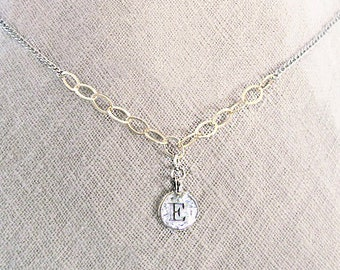 Mixed metal initial necklace, letter E necklace, personalized E letter coin jewelry, mixed-metal sterling silver gold filled necklace with E