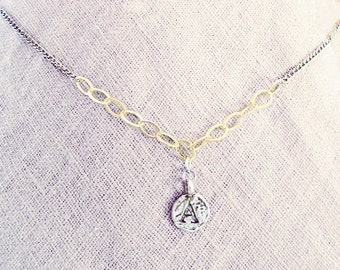 """Personalized A initial necklace, A letter coin jewelry, mixed-metal silver gold filled chains necklace with charm, unique """"A"""" monogram gifts"""