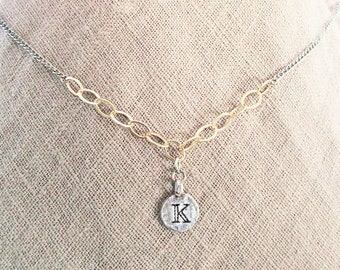 Meaningful girlfriend K necklace, mixed-metal gold filled chain with sterling silver K coin letter charm choker, best initial K jewelry gift