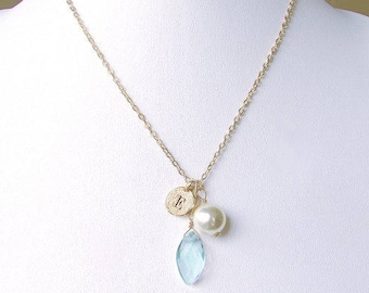 Personalized mom necklace, E initial necklace with gold letter coin charm & clear blue stone drop, E boy letter for baby shower jewelry gift