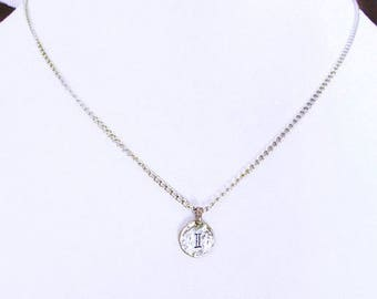 personalized pendant silver I letter coin, personalized initial jewelry, initial necklace sterling silver I choker, letter coin jewelry gift