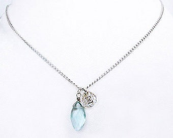 Sterling silver E coin initial necklace, E personalized jewelry gifts, sterling silver something blue stone drop pendant necklaces for women