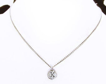 """K personalized sterling silver necklace, silver initial """"K"""" coin necklace, best friend charm necklace, unique women K birthday jewelry gift"""