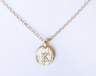 K personalized girlfriend necklace gift, mom necklace gold K coin charm, initial gold K letter jewelry, unique K pendant necklaces for women