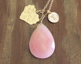 Gold pink necklace, best personalized mom gift, initial T letter gold leaf charm necklace and gradient pink jade stone, leaf pink necklace