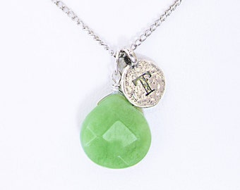Letter T initial necklace, sterling silver T initial personalized green jade necklace, unique T coin initial necklace, jade stone T jewelry