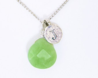 Personalized girlfriend gift, letter J necklace, J initial necklace with jade birthstone, J coin initial necklace with jade stone jewelry