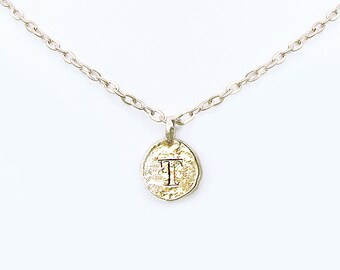 T coin necklace, T personalized teen jewelry, T necklaces for women, gold u monogram initial letter choker, unique T sweet 16 birthday gifts
