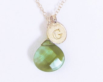 G necklace gold personalized necklace for mom, gold G letter initial coin necklace with green stone, 1st 2nd 3rd anniversary gifts for women