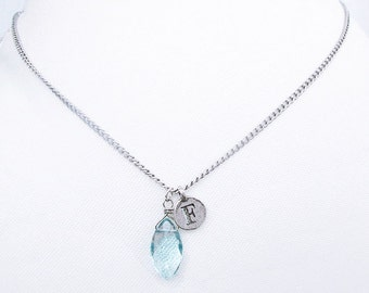 F personalized necklace sterling silver handmade with something blue stone charm, unique initial letter F coin with faceted stone necklace