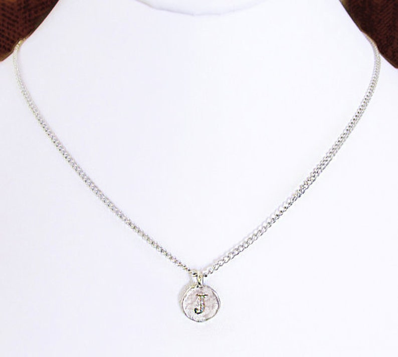 silver coin pendant necklace J handmade personalized jewelry gift Sterling Silver J initial letter coin personalized necklace for women