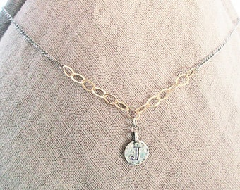 Personalized necklaces, J Jewelry, initial necklace silver with gold, mixed-metal gold filled sterling silver letter necklace, J letter gift