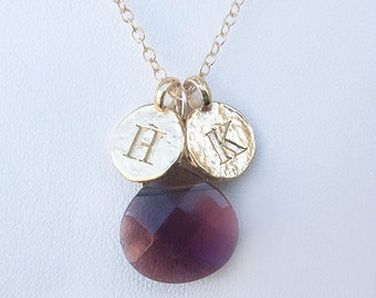 Red stone anniversary wife necklace with 2 gold dainty engraved letters, gold filled chain with red faceted stone necklace and H K coins