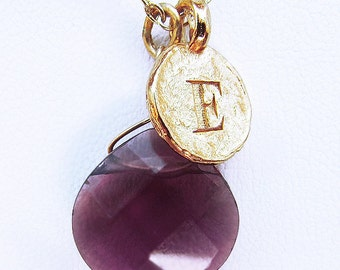 E necklace, gold purple red necklace, letter E necklace, elegant personalized gold coin red necklace, gold E necklace with red stone jewelry