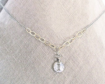 """I initial necklace, """"I"""" personalized letter coin pendant necklace, sterling silver mixed metal gold filled I necklace, birthday letter gift"""