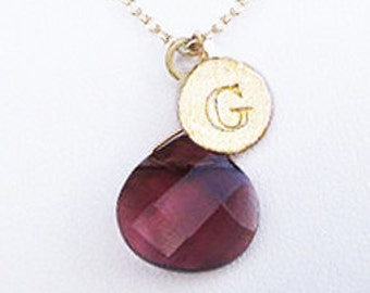 G personalized jewelry, handmade initial pendant G letter with red purple stone drop, unique gold initial coin red stone necklaces for women