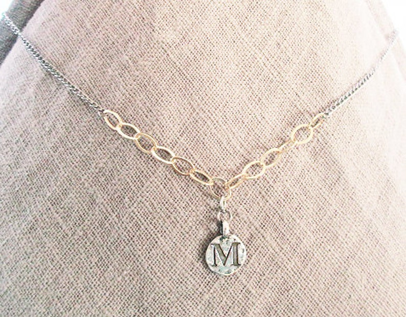 Mixed gold silver M initial necklace M letter image 0