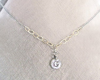 Personalized pendant necklace, mixed metal unique initial necklace, silver G letter with gold chain initial choker, letter G charm necklace