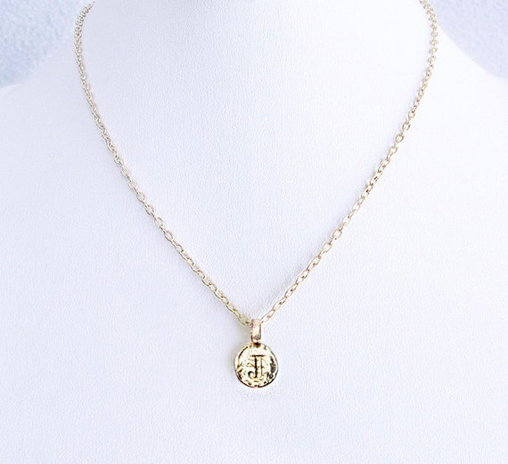 J initial necklace, J letter necklace, gold J coin jewelry, J engraved charm jewelry, elegant holiday J necklace for women, best friend gift