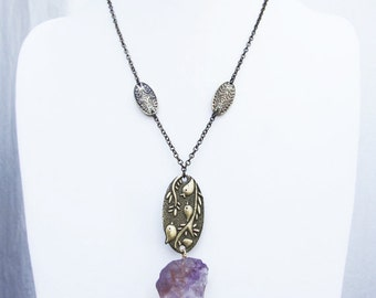Raw stone jewelry necklaces, birds necklace, antique brass necklace with birds and raw amethyst, elegant raw mineral stone grandma necklace