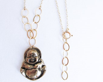 Mom birthday gift from daughter, Buddha necklace, gold charm Buddha necklace for women, smiling buddha necklace, buddha pendant jewelry gift