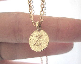 Z personalized zoe name, gold z initial jewelry, elegant z letter coin holiday necklace, gold letter pendant choker, gold z letter name gift