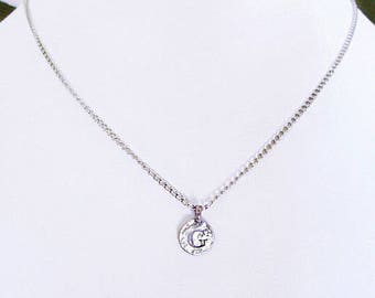 """Meaningful G best friend gift, """"G"""" initial coin charm personalized necklace, G silver initial choker, Unique G letter birthday necklace gift"""