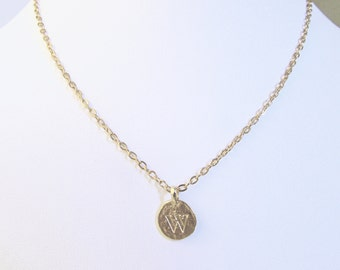 personalized necklace gold with W coin pendant, personalized mothers necklace, unique W necklaces for women, gold letter W mom birthday gift
