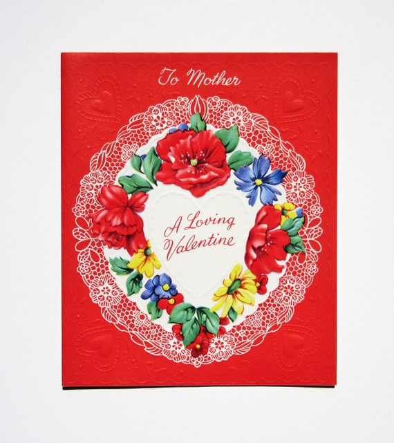 Vintage unused valentines day greeting card to mother a loving etsy image 0 m4hsunfo