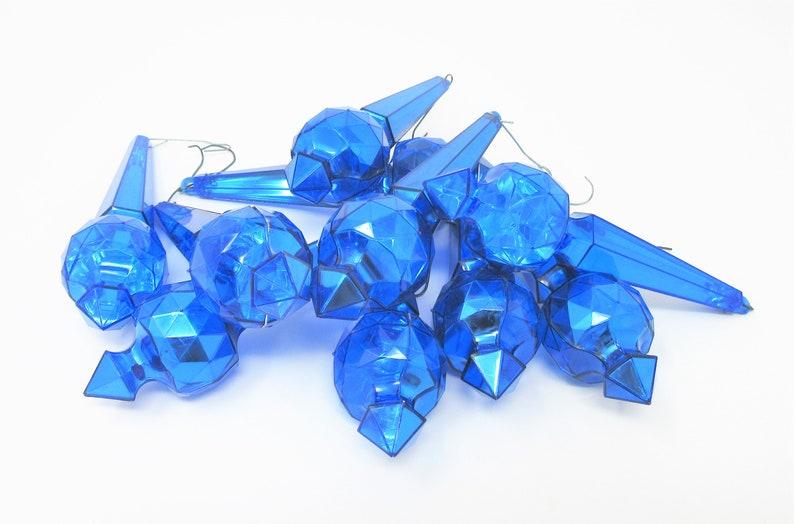Vintage Plastic Blue Jewelbrite Holiday Ornaments Prism Design Set of 10 Shiny Decorations Nostalgic Hanukkah or Christmas Mid Century Decor