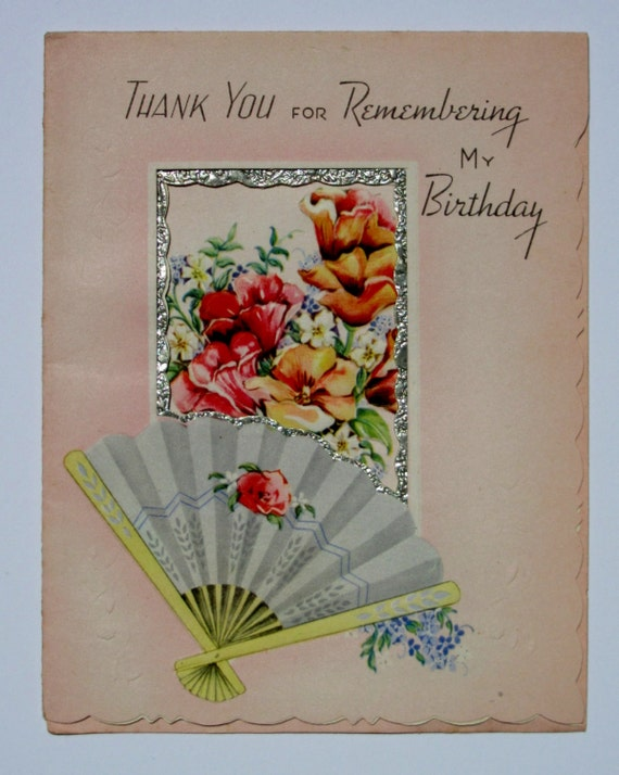 Vintage Thank You For Remembering My Birthday Greeting Card Etsy