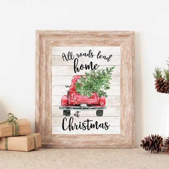 Red Truck Christmas Decor Holiday Wall Art All Roads Lead ...