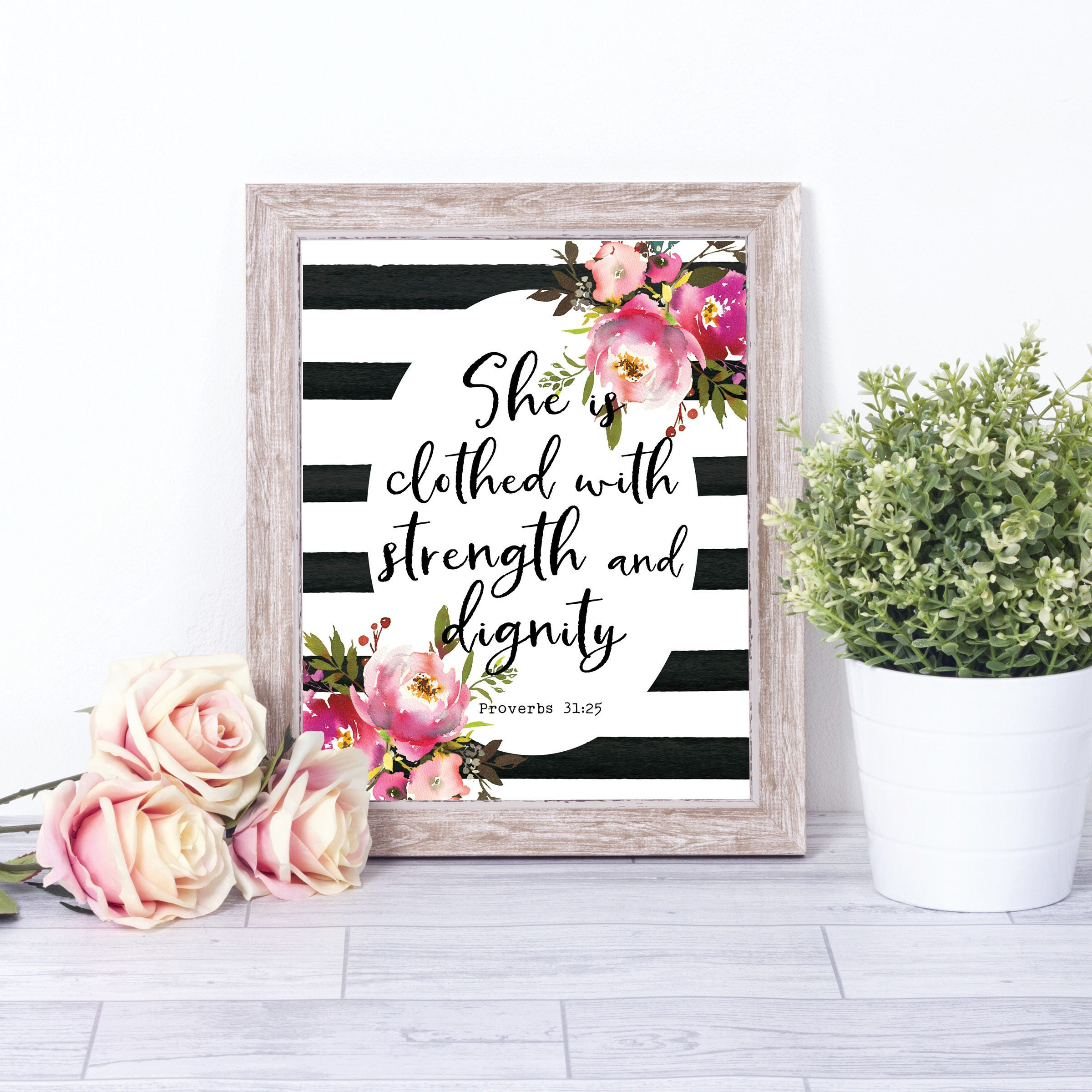 Dignity Wall: Bible Verse Wall Art She Is Clothed With Strength And