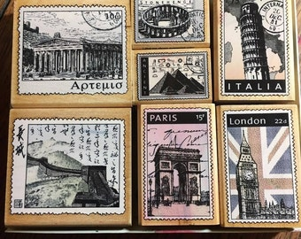Wood mounted rubber stamps set world postage stamps set, international postage stamp set, scrapbooking rubber postage stamps design stamps