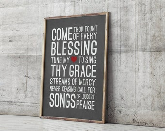 DIGITAL DOWNLOAD  // Come Thou Fount of Every Blessing // Subway Art, Typography, Hymn, Lyrics, Poster, Print, Wall Art, Home Decor