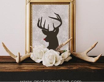 DIGITAL DOWNLOAD // Rudolph // Wall Decor, Home Decor, Holiday Decor, Christmas Decor, Deer, Holiday Print, Christmas Print