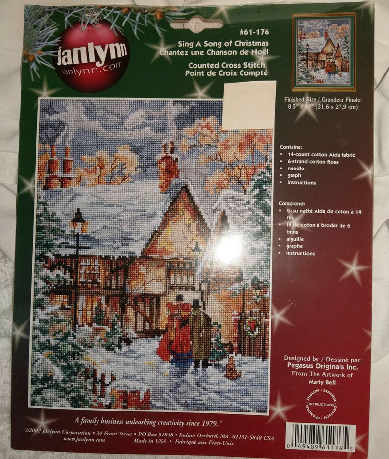 SING a SONG of CHRISTMAS--by Marty Bell--Carolers Counted Cross Stitch  Pattern and picture only, still in package