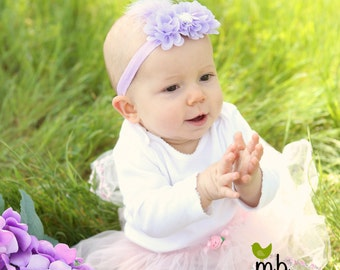 Baby Headband/Sandals Set ~ Barefoot Sandals ~ Lavender Flower Sandals ~ Flower Headband and Sandals ~ Flower Sandals ~ Flowergirl sandals