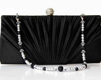 Black Satin Purse, Black clutch with Rhinestone Knob and Swarovski and Pave Crystal Purse Handle That Can Be Worn As A Necklace, evening bag