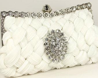 White Bridal Purse with stunning Swarovski crystal accent - Wedding Purse - Bridal Bag