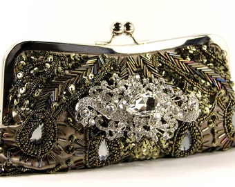 Olive Green Beaded Wristlet Clutch Purse w/ brilliant Swarovski Crystal embellishment. One-of-a-kind evening bag. The Love Story