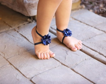 Baby Barefoot Sandals ~ Navy Blue Flower Sandals ~ Toddler Sandals ~ Newborn Sandals ~ Baby Flower Sandals ~ Flower girl sandals