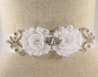 Sash Belt, White Wedding Sash belt - Bridal Sash Belt - White Rhinestone Crystal Wedding Dress Sash - White Rhinestone Bridal Sash