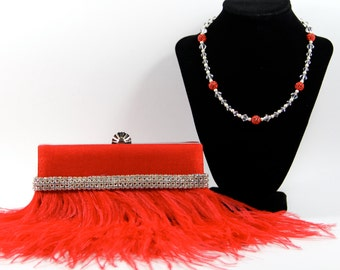 Red wristlet clutch purse - Red Ostrich Feather Purse with Swarovski & Pave' Crystal Purse Handle That Can Also Be Worn As A Necklace