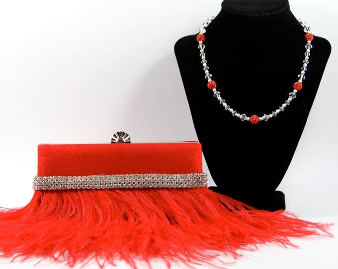 Featured listing image: Red wristlet clutch purse - Red Ostrich Feather Purse with Swarovski & Pave' Crystal Purse Handle That Can Also Be Worn As A Necklace