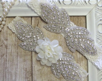 Garter Set - White or Ivory Rhinestone Wedding Garter Set Lace Garter Set, Toss Garter, Garter, Bridesmaid Gift, Prom, Wedding Gift