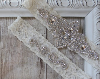 Wedding Garter, NO SLIP Lace Wedding Garter Set, bridal garter set, vintage rhinestones, crystal and rhinestone garter set