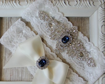 "Garter Set - Customizable Vintage Wedding Garter Set with ""Gemstones"" and Rhinestones on Comfortable Lace, Crystal Garter Set, Prom Garter"